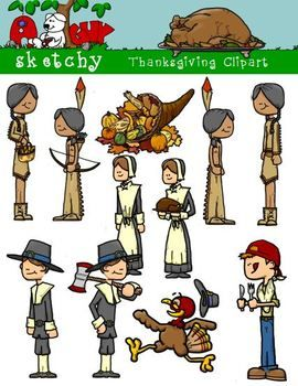 Thanksgiving / Autumn / Fall Clipart 300dpi Color, Grayscale, Black Lined