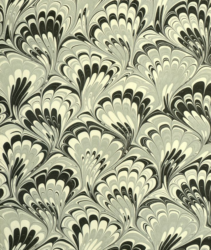 Modern 20th c. marbled paper, Peacock pattern by Don Guyot