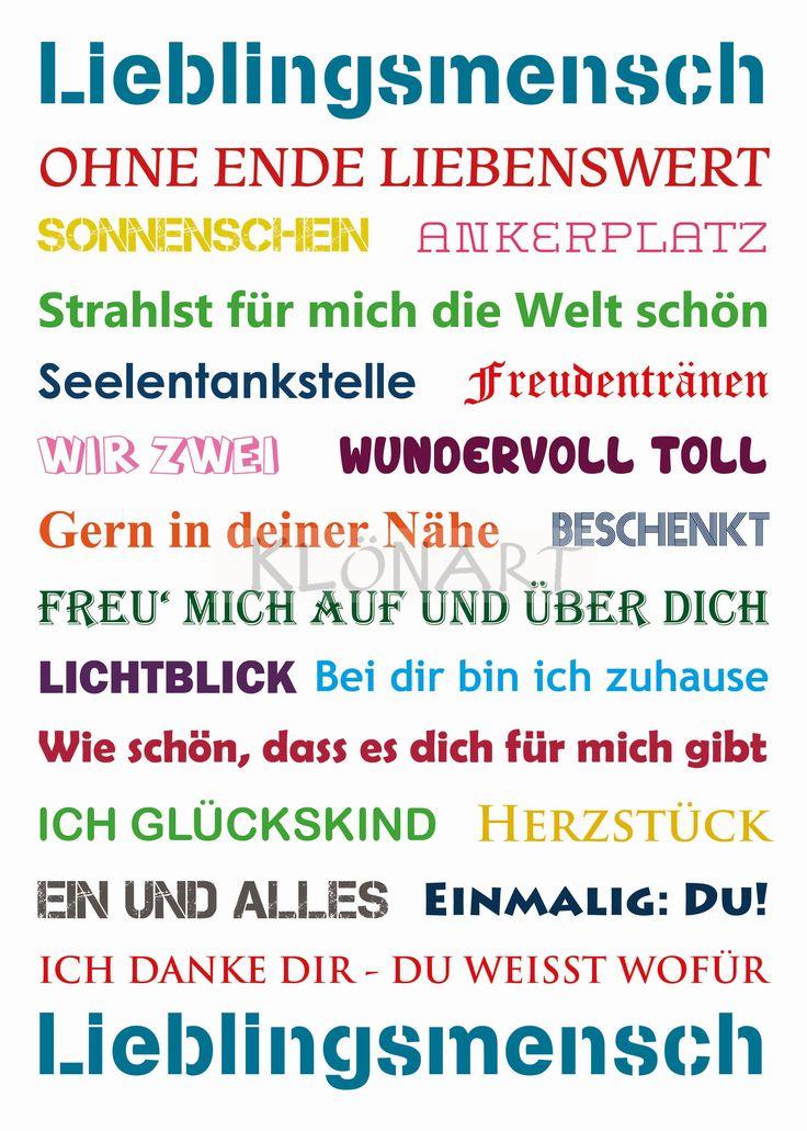 KLÖNART - Kartenkunst und mehr Postkarte  Buchstaben + Worte LIEBLINGSMENSCH  www.kloenart.de kontakt@kloenart.de www.facebook.com/kloenar