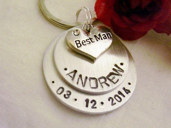 Best man gift hand stamped silver keychain by glamgirlspretties