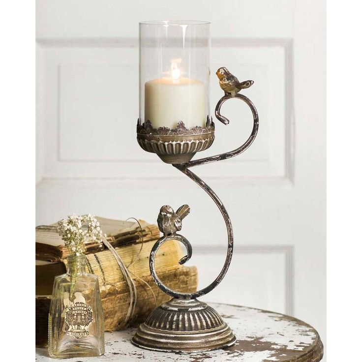 Vintage Metal And Glass Victorian Candle Holder Featuring 2 Songbirds