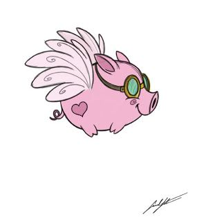 Sarahs Sketchbook: Fly Little Pig, FLY! I know exactly what I can use this for! : )