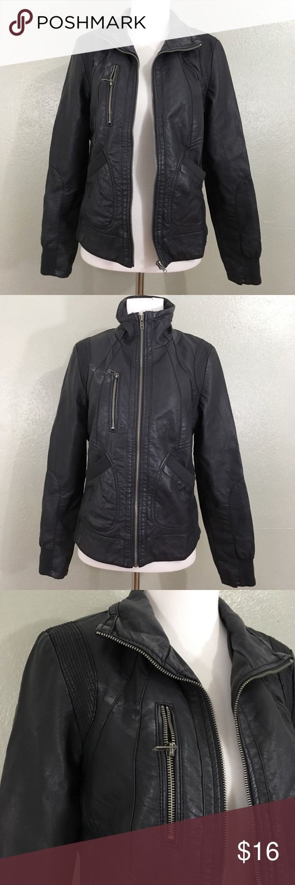 Xhileration Target Faux Leather Jacket Dark Gray Leather
