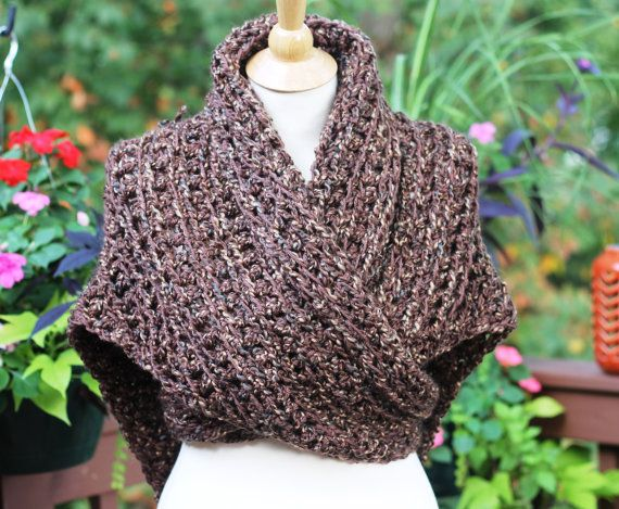 Beginner / Outlander Inspired Claires Shawl, Cowl, Shoulder Wrap featuring 2 color combinations (brown and gray) and adult or child size