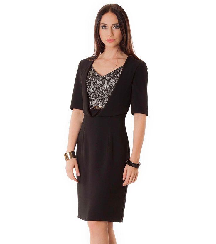 Rochie neagră cu panou contrastant Daneta - Haine de damă - Semper - elegantă și feminină - Rochii