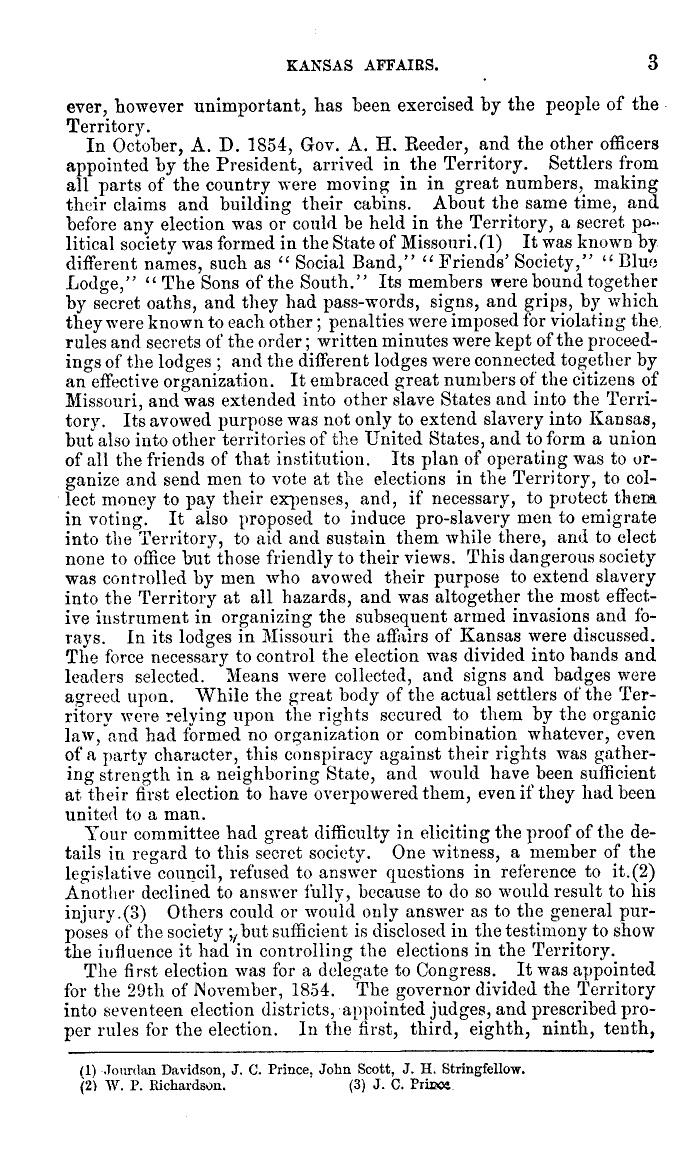 Congress report on Bleeding Kansas, 1865