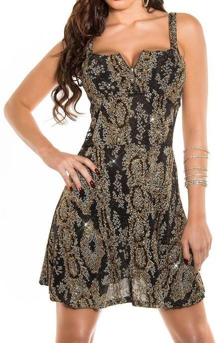 Dames mini jurk met strass reptiel print en rits goud zwart €29,99  Koucla Dames mini jurk met strass reptiel print en rits in goud met zwart voor €29,99 in een One size maat (34,36,38).