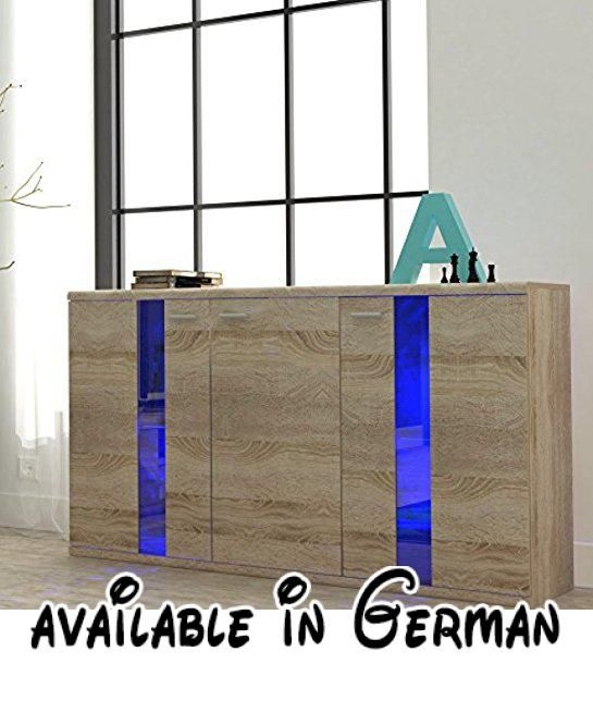 B06XYW7PYP : Kommode Sideboard LIFE mit beleuchtung (sonoma eiche). Große: Breite: 140 cm Höhe: 87 Tiefe: 42 cm