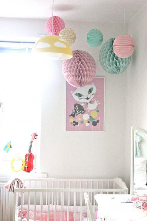 Darling Vintage Feminine Girl Room Nursery. Love the ikea light