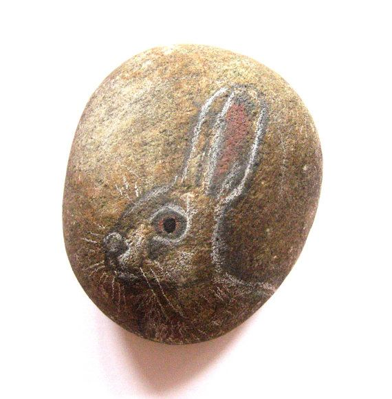 Hand painted Hare Art stone/paperweight by SeeQueenStones on Etsy, £10.00