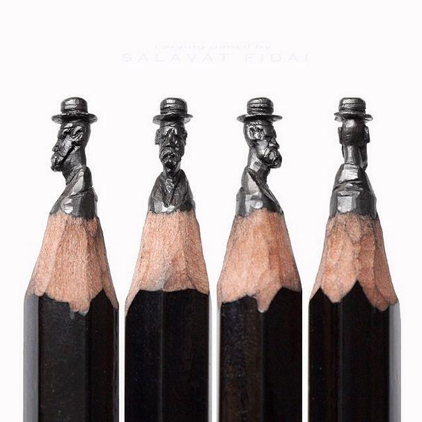 Salvat Fidai makes art out of pencils.