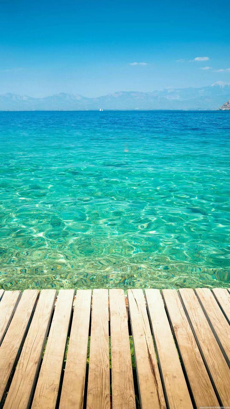 Clear Tropical Ocean Water iPhone 6 plus wallpaper - sea, bridge, mountain