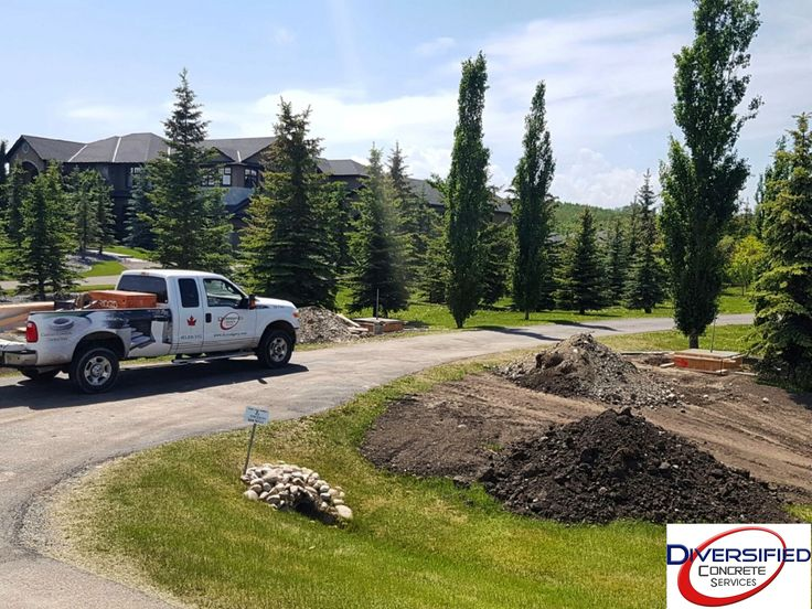 Front gate footing in beautiful Bears Paw, Calgary. #diversifiedconcreteservices #yyc #concrete #footings #bearspaw