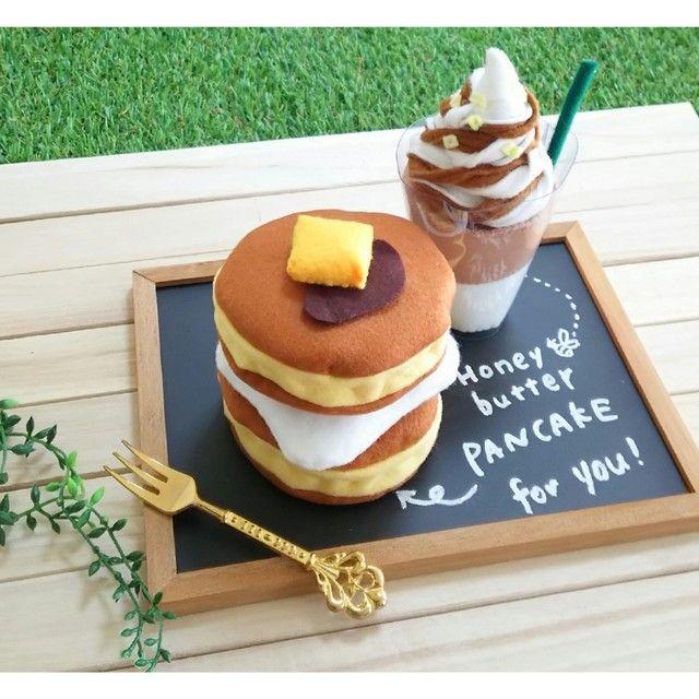再販50♡フェルトままごとアイスラテパンケーキ