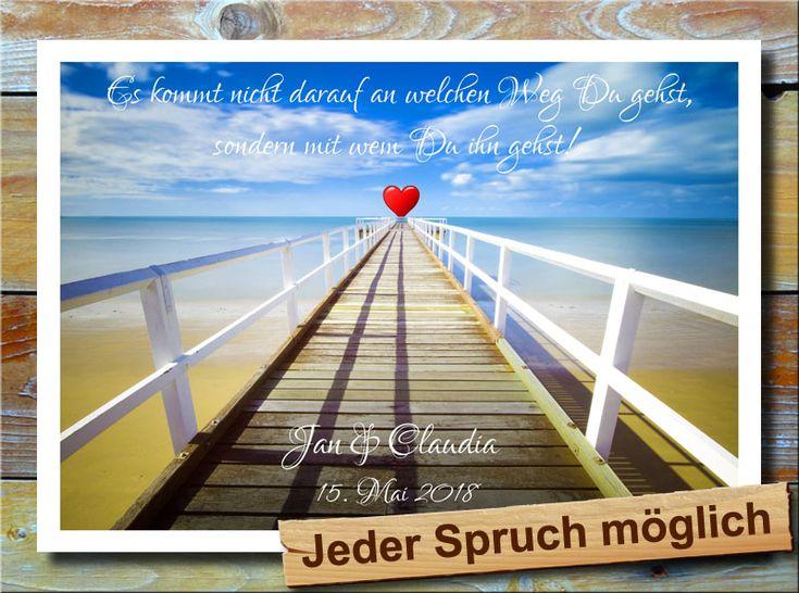 Weg ins Paradies * Ein langer Weg führt weit ins paradiesische Meer hinein. Irgendwo am Ende scheint am Horizont das Herz der totalen Liebe erreichbar zu sein. Spruch, Namen und Datum werden individuell eingedruckt. Ein tolles Geschenk zum Aufhängen z.B. als Liebesbeweis oder zum Valentinstag. Eben ein wunderbares Geschenk für den Partner, dem Freund bzw. der Freundin.