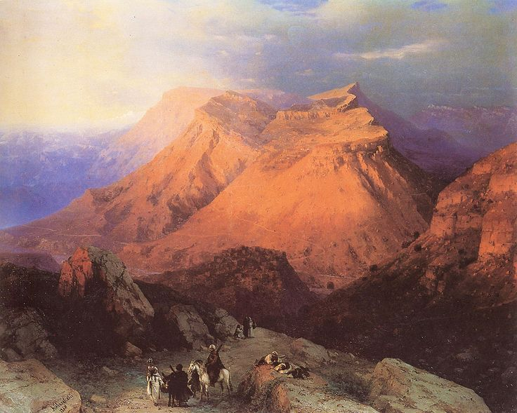 Ivan Konstantinovich Aivazovsky.  Title: Mountain Village Gunib in Daghestan, Date: 1869, Location: St. Petersburg, Russian Museum - Buy this painting as premium quality canvas art print from Modarty Art Gallery #art, #canvas, #design, #painting, #print, #poster, #decoration