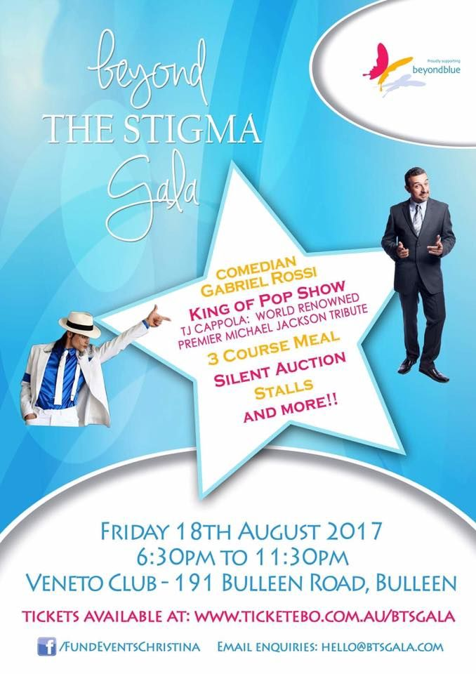 Join us in raising awareness for mental health and suicide on August 18 at the Beyond THE STIGMA Gala Fundraiser Event. Tickets still available: http://www.ticketebo.com.au/fun…/beyond-the-stigma-gala.html