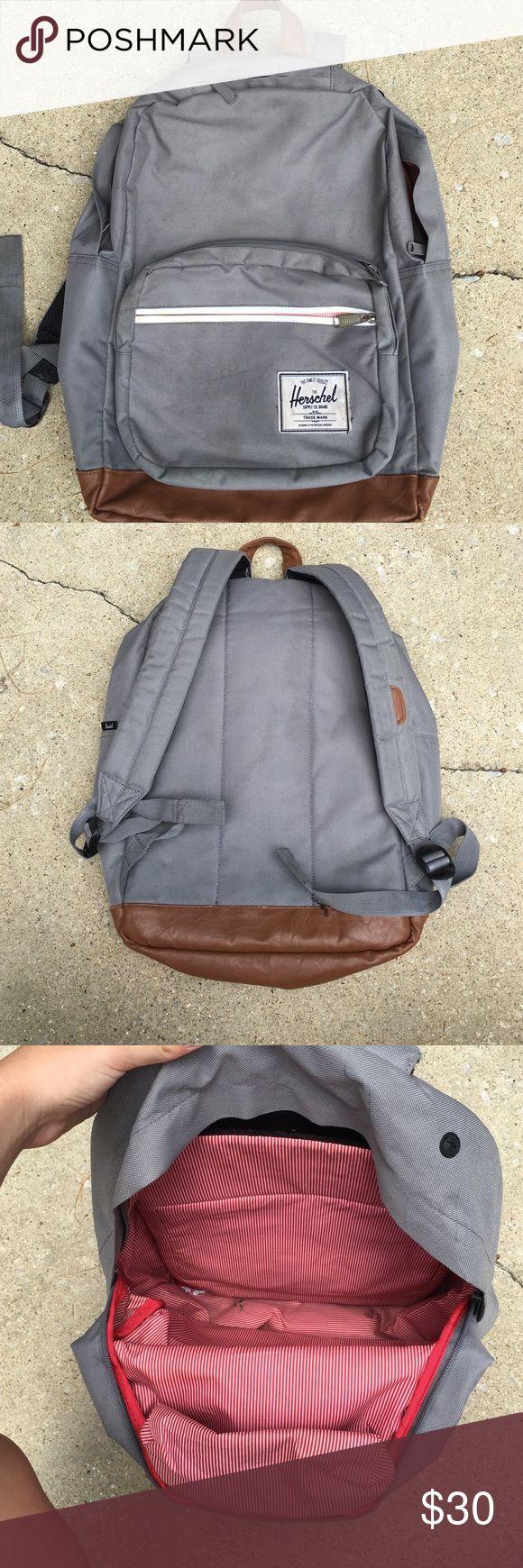 GREY HERSCHEL BACKPACK grey used, slight stain on …