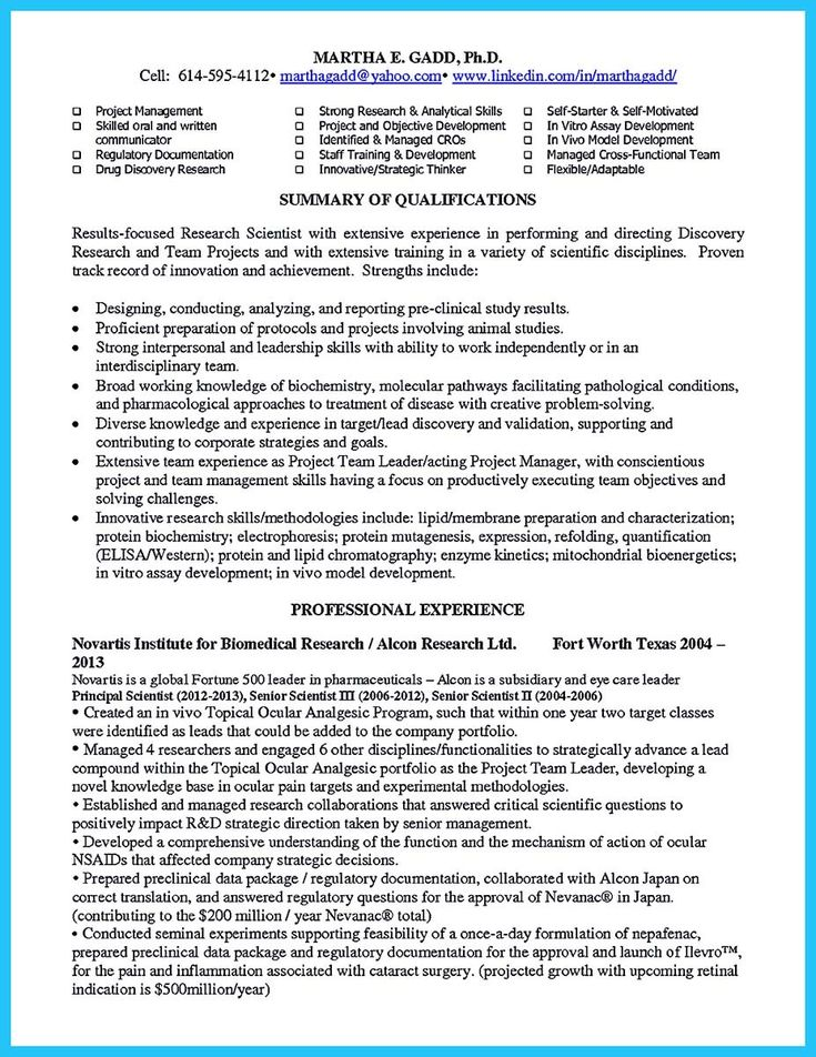 47++ Research scientist resume examples inspirations