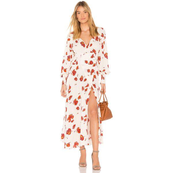 Free People So Sweetly Midi Dress (€145) ❤ liked on Polyvore featuring dresses, pink smocked dress, cross front dress, midi dress, midi day dresses and elastic waist dress
