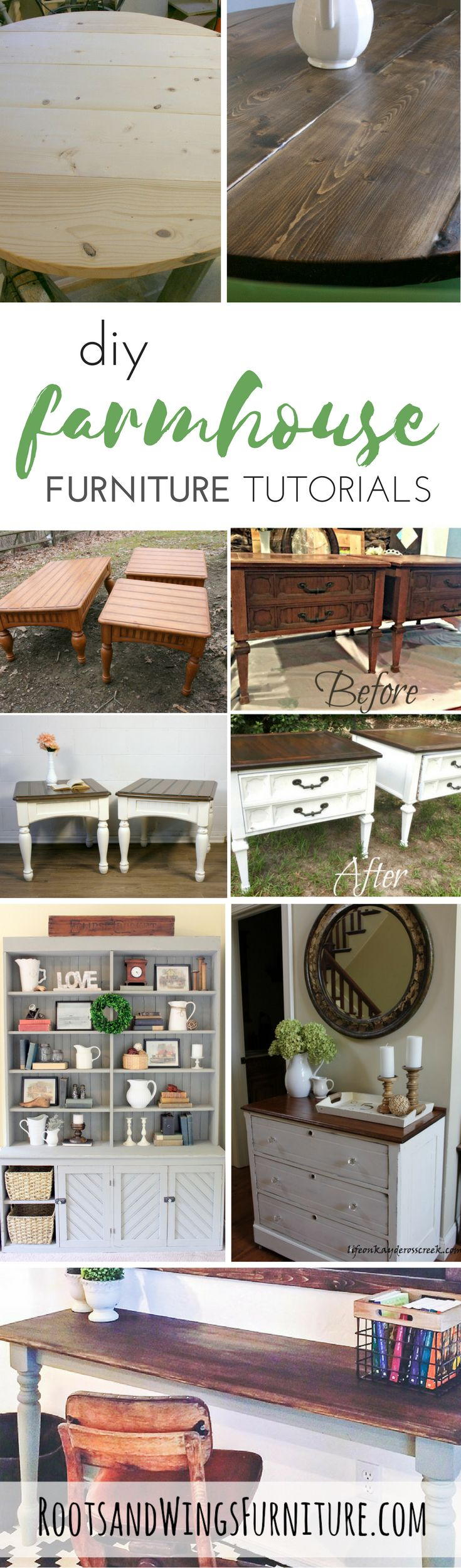 12 DIY Farmhouse Tutorials and Ideas by the best bloggers and style makers.  Post by Jenni of Roots and Wings Furniture.