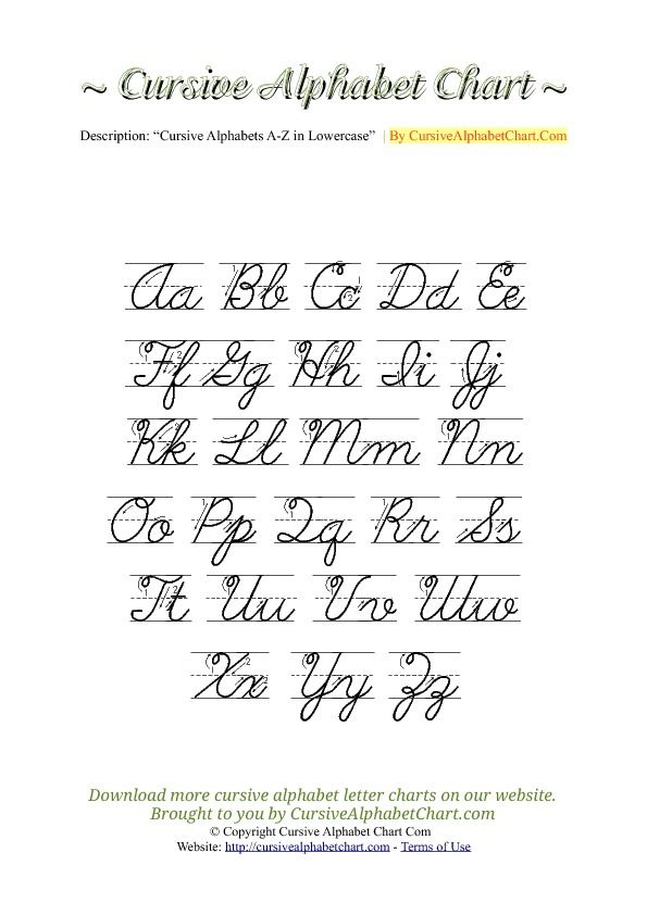 Uppercase & Lowercase Cursive Alphabet Charts with Arrows in PDF                                                                                                                                                                                 More