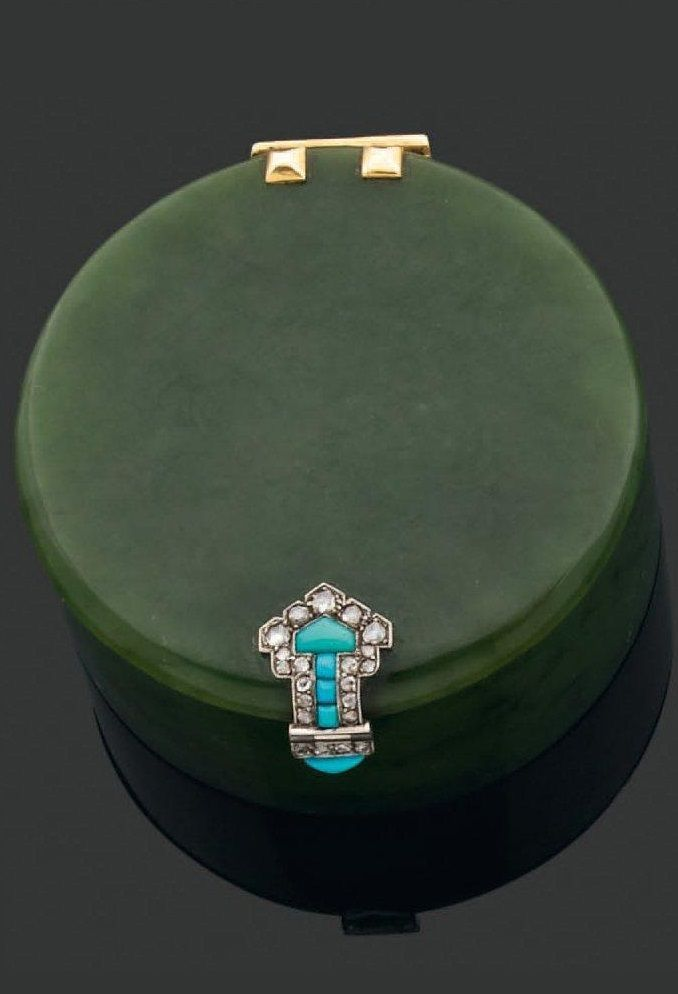 ** AN ART DECO BOX BY CARTIER. Composed of nephrite jade, with gold hinge, Persian ...