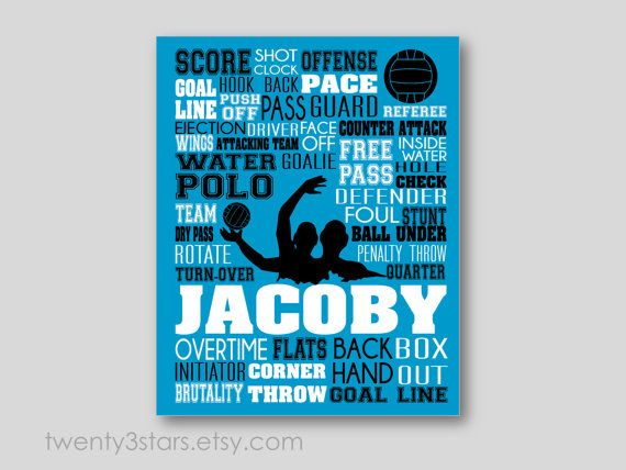 This art print would look great in any water polo players room. Add a name, sports team, or even Coach to make a personalized gift. Makes a great