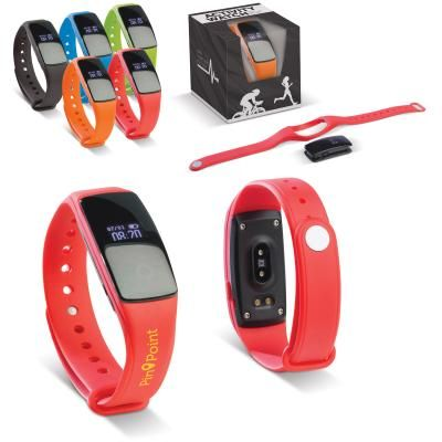 Image of Printed Activity Tracker. Sports Fitness Tracker With Mobile Phone Connection.