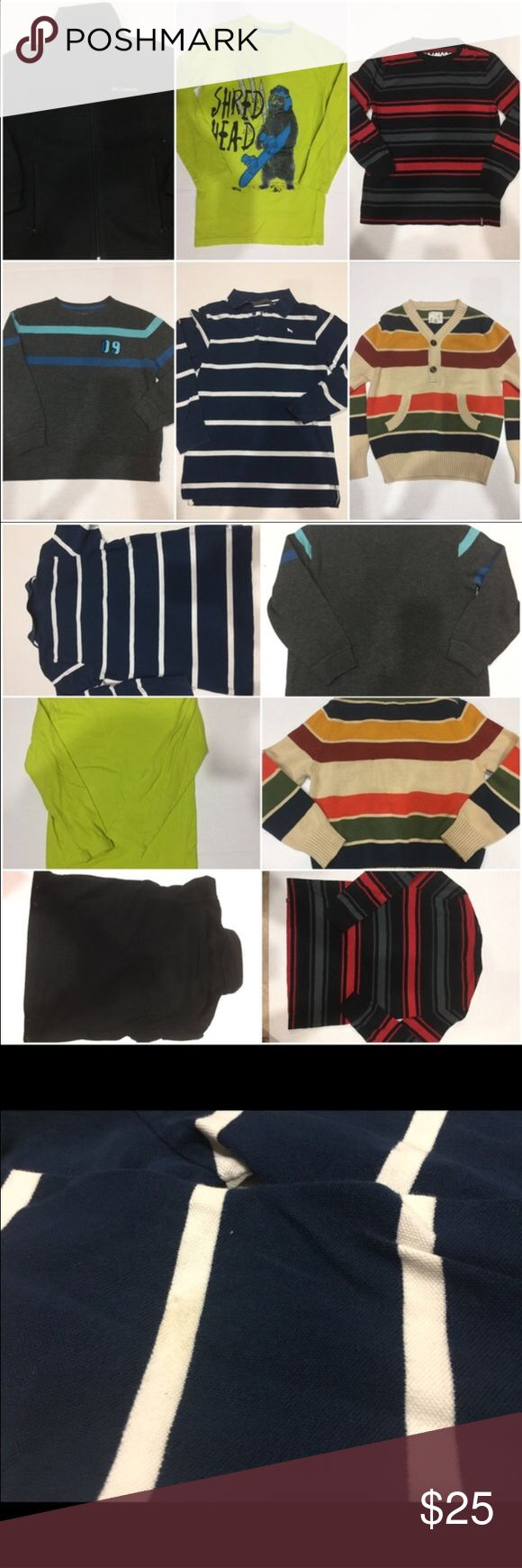 💙Size 8 Boys long sleeve shirt lot. (6 pieces) Peek multicolor sweater, Old Navy sweater (09 on it), red/black Tony Hawke sweater shirt, Falls Creek Shred Head snowboarding bear, Colombia black fleece jacket, and H & M navy striped polo.  All gently pre owned, normal wash and wear.  The H &M has a small mark on the sleeve as shown in last picture. Shirts & Tops