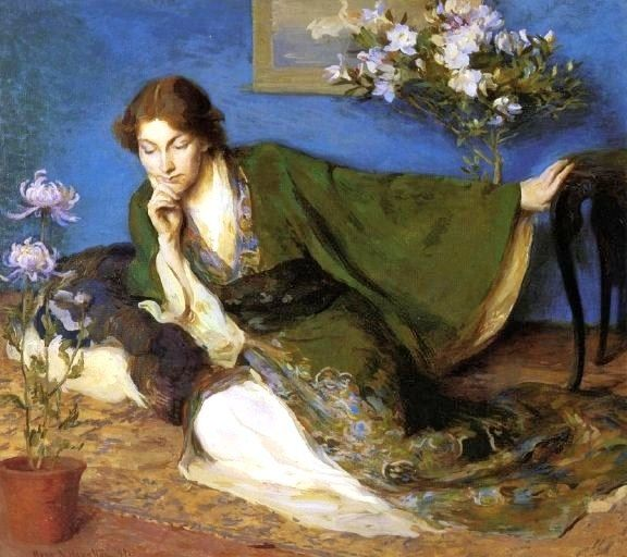 "John Hubbard Rich (American, 1876-1954).""Japonisme Woman In Kimono"" by Mary Brewster Hazelton (1868-1953)  Possibility for Cersei dress"