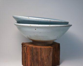White/Blue Stoneware Matcha Tea Bowl with Iron Spots by MudFusion