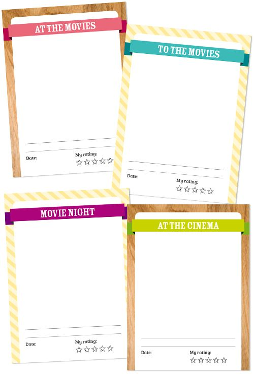 Freebie for Project Life - To the movies!