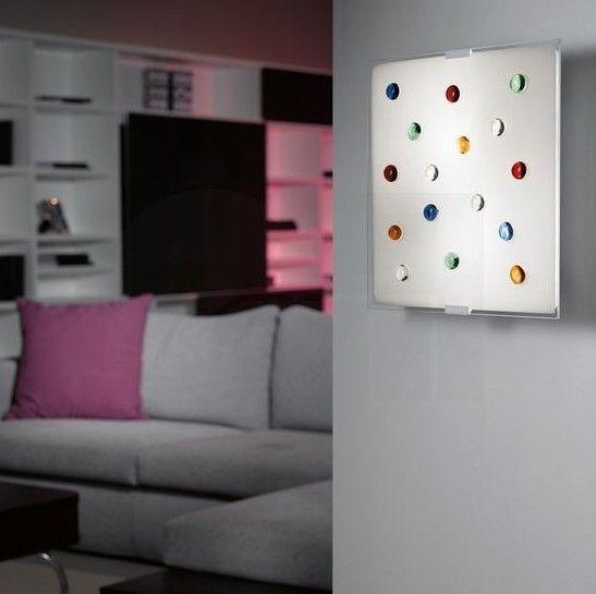 Απλίκα τοίχου - πλαφονιέρα οροφής φωτιστικό, σε μοντέρνο στυλ, με βάση από ατσάλι σε λευκό χρώμα και γυαλί σατινέ διακοσμημένο με πολύχρωμες σφαίρες. Santiago 1 από την Eglo. ------------------------------ Wall lamp, in modern style, with steel base in white color and satin glass decorated with colorful spheres. #walldecor #wallamp #walllighting #homedecor #homedesign #home #livingroomideas #decoration