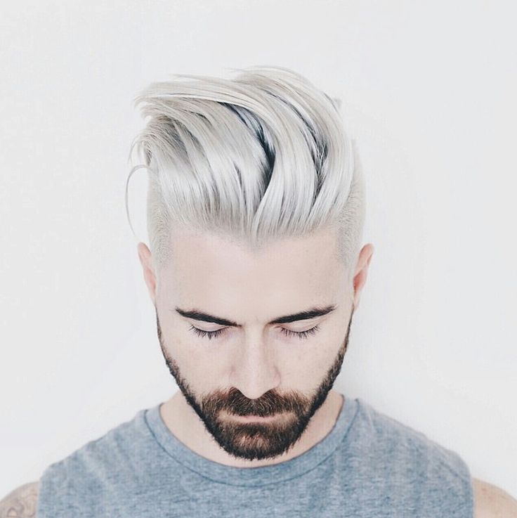 Silver Platinum Men's Hair, Kyle Krieger's two toned look.brilliant color by Stephanie Forsyth sexy cut by Aaron King ✂The perfect Men's Hairstyle is just a Hairflip away.