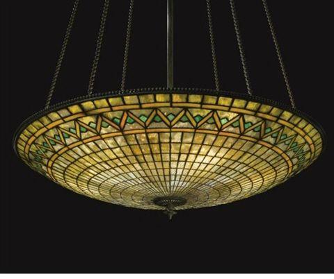 Hanging Large Parasol Shade With Zig Zag Border Tiffany Studios