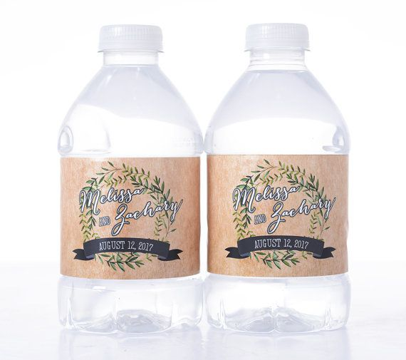 These rustic water bottle labels combine parchment paper and elegant foliage for a classy country look. From LabelsRus