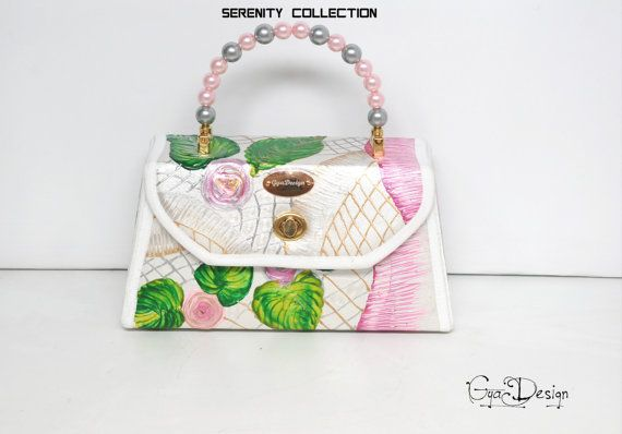 Summer flower handbag hand painted handbag pink green ivory
