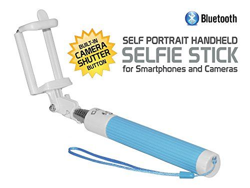 Compact LG V20 Blue Extendable BLUETOOTH Wireless Self Portrait Selfie Stick Stick Handheld Monopod with Bluetooth Controls * To view further for this item, visit the image link.