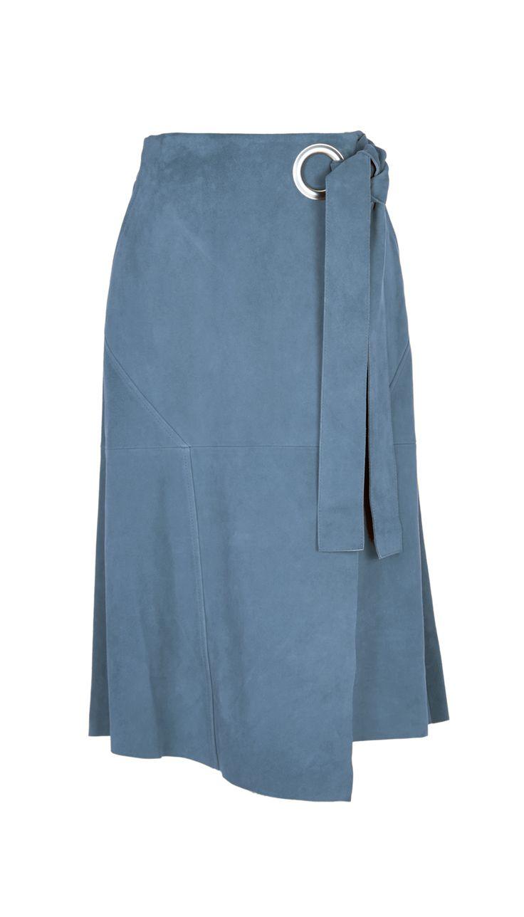 Tibi | Blue Suede Wrap Skirt | Lyst