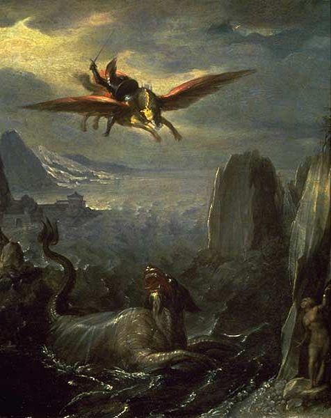 File:'Ruggiero Saving Angelica', tempera on wood panel painting attributed to Girolamo da Carpi (Girolamo Sellari),, El Paso Museum of Art.JPG