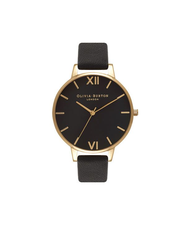 Ladies Big Dial Black And Gold Watch | Olivia Burton London | Olivia Burton US