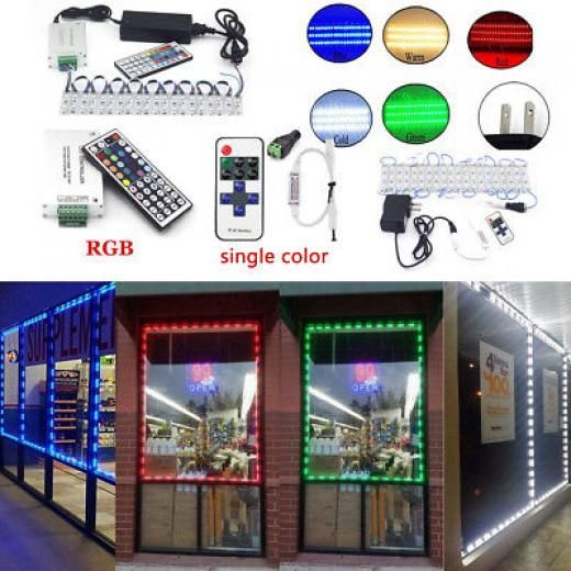 Us 100ft 5050 Smd 3 Led Bulb Module Lights Club Store Front Window Sign Lamp Kit Indoor/outdoor Corded Dimmable Rgb Waterproof 3led Multipurpose Party Wedding Sign Home/hotels/clubs/shopping Malls/architectural/car Stage/ktv/bar/dj/disco Commercial/advertising