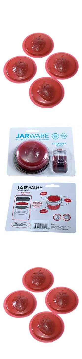 Jarware BPA Free Jelly Jam Lid, Strawberry, 1-Pack (4 Lids)