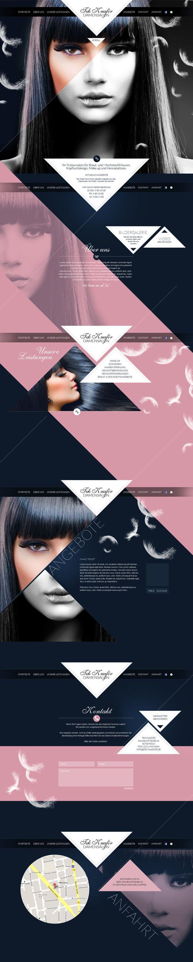 Singlepage, Webdesign Gestaltung für einen Damensalon in Köln
