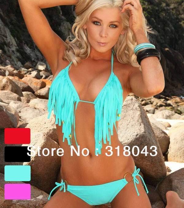 ♥Bandeau+bikini+swimwear+with+tassel  ♥+Nylon,Polyester,+Spandex,+Cotton+fabrics  ♥+Black+and+sky+blue    Size+Guide:  S-M-L+(see+the+size+chart+photo)
