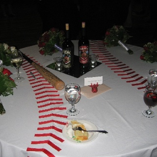 Red duck tape and white table cloth. This would look so cool!!