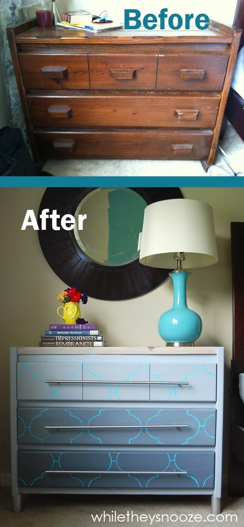 Old Dresser Makeover from @While They Snooze