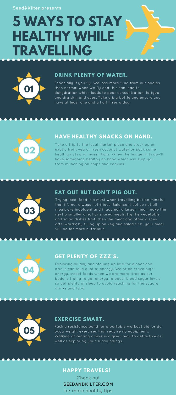 Stay fit and healthy while travelling with these 5 tips.