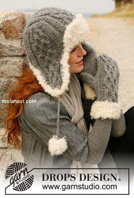вязаная шапка ушанка от Дропс http://mslanavi.com/2012/09/o-vyazanii-vyazanye-zhenskie-shapki-s-ushkami/
